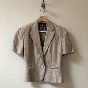 vintage RALPH LAUREN tan cropped silk blend jacket